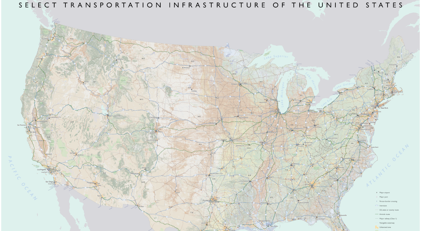 U.S. map showing select transportation infrastructure